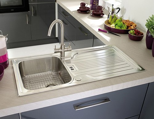 Example image of Astracast Sink Montreux 1.0 bowl brushed stainless steel kitchen sink & Extras.