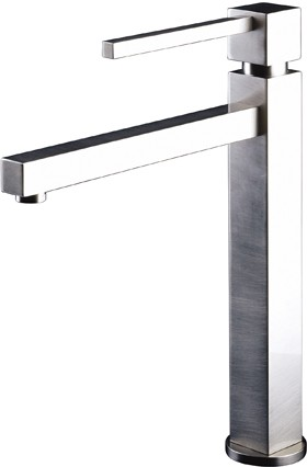 Larger image of Astracast Nexus Serenita high rise kitchen mixer tap in brushed steel.
