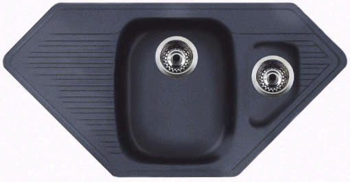 Larger image of Astracast Sink Vector 1.5 bowl black composite corner kitchen sink.