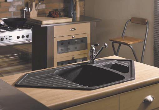 Example image of Astracast Sink Vector 1.5 bowl black composite corner kitchen sink.