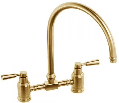 Larger image of Abode Hargrave Swan Neck Bridge Kitchen Tap (Antique Bronze).