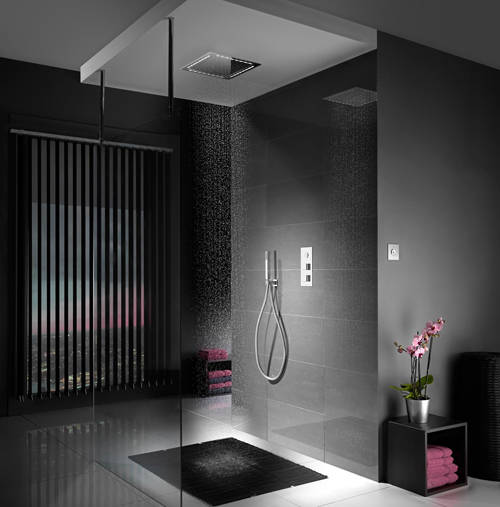 Example image of Aqualisa Infinia Digital Shower, Remote (Chrome & White Astratta Handles, GP).