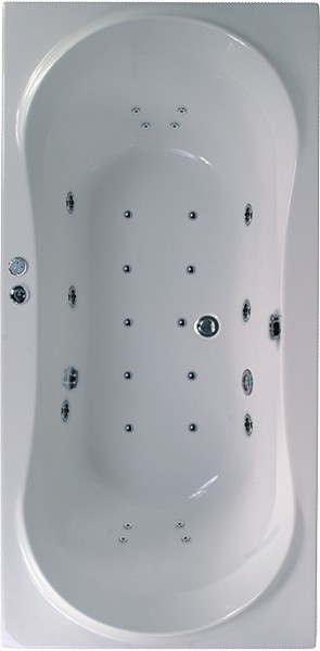 Larger image of Aquaestil Apollo Eclipse Double Ended Whirlpool Bath. 24 Jets. 1800x800mm.