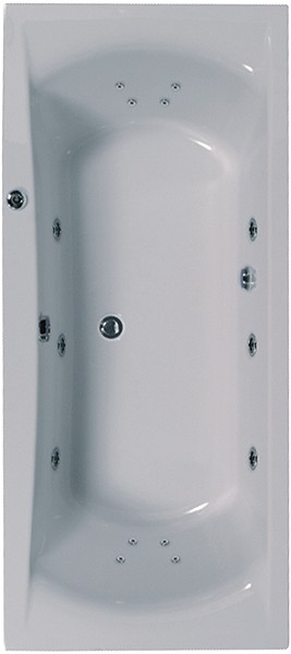 Larger image of Aquaestil Arena Double Ended Whirlpool Bath. 14 Jets. 1800x800mm.