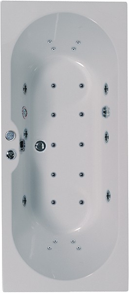 Larger image of Aquaestil Calisto Eclipse Double Ended Whirlpool Bath. 24 Jets. 1700x700mm.