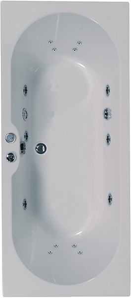 Larger image of Aquaestil Calisto Double Ended Whirlpool Bath. 14 Jets. 1800x800mm.
