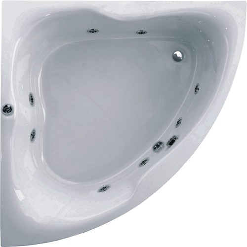 Larger image of Aquaestil Gloria Corner Whirlpool Bath. 8 Jets. 1500x1500mm.