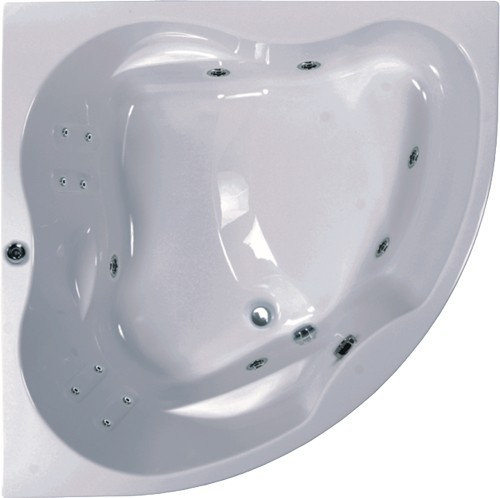 Larger image of Aquaestil Newa Large Corner Turbo Whirlpool Bath. 14 Jets. 1500x1500.
