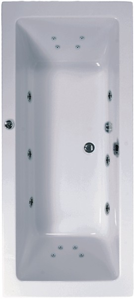 Larger image of Aquaestil Plane Double Ended Turbo Whirlpool Bath. 14 Jets. 1800x800mm.