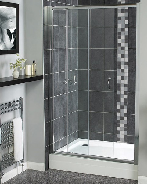Larger image of Aqualux Shine Sliding Shower Door. 1100mm.