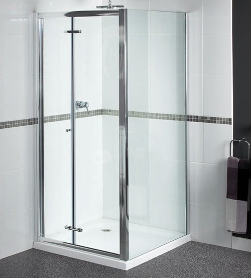 Larger image of Aqualux Shine Shower Enclosure With 900mm Bi-Fold Door. 900x700mm.