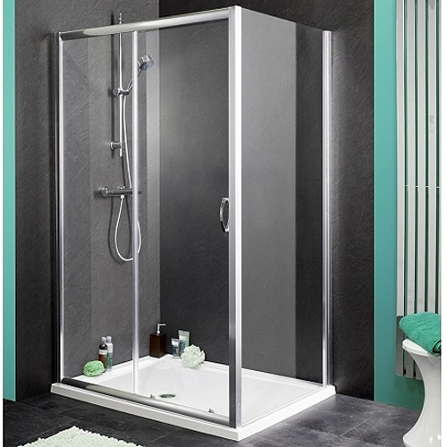 Larger image of Aqualux Shine Shower Enclosure With 1100mm Sliding Door. 1100x700mm.