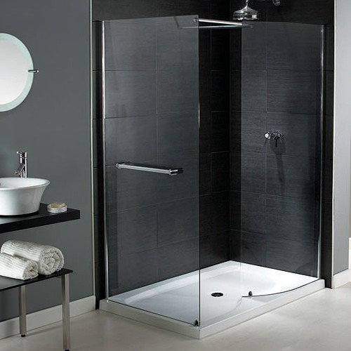 Larger image of Aqualux Shine Walk In Shower Enclosure With Tray 1400x800mm (Reversible).