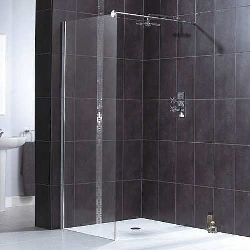 Larger image of Aqualux Shine Glass Shower Panel With Wall Bracket 800x1900mm 1160496.
