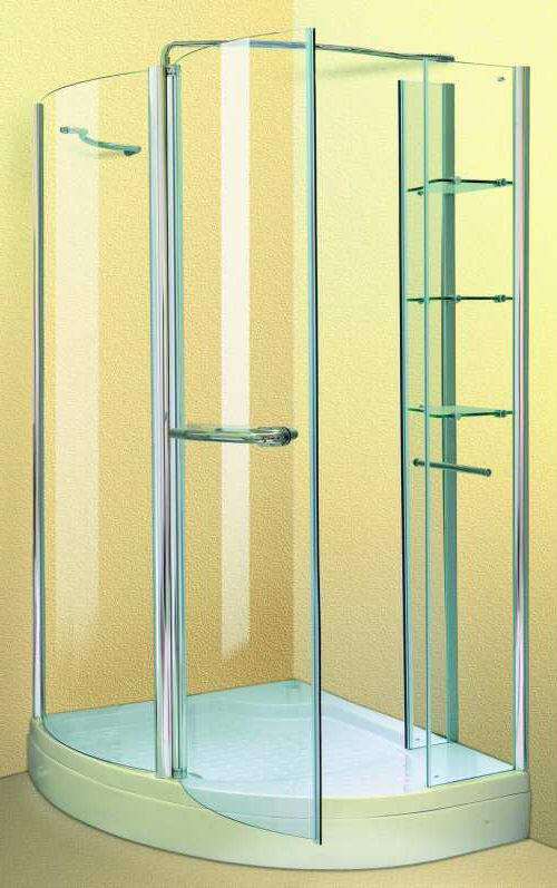 Larger image of Aqua Enclosures Arizona Right Handed offset corner quadrant shower enclosure with tray and waste