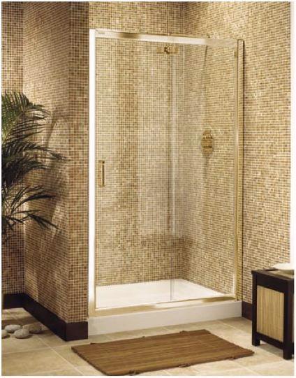 Image > Ultra 1200mm jumbo sliding shower enclosure door in gold.
