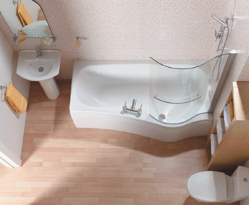 Larger image of Saninova Complete Shower Bath (Right Hand).  1700mm. 11 Jet whirlpool.