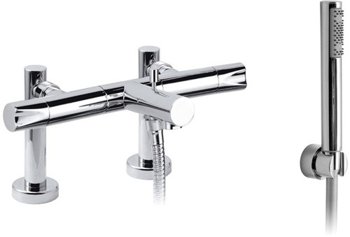 Larger image of Vado Ixus Deck Mounted Bath Shower Mixer With Kit. 150mm Centers.