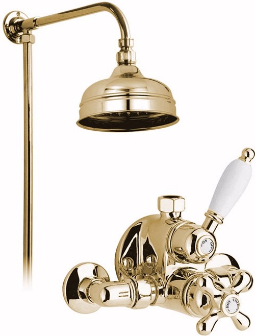"Larger image of Vado Westbury Gold thermostatic valve, rigid riser and 8"" head."