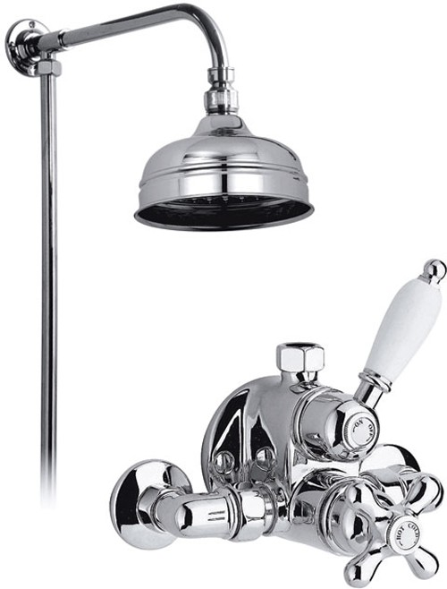 "Larger image of Vado Westbury Chrome thermostatic valve, rigid riser and 6"" head."