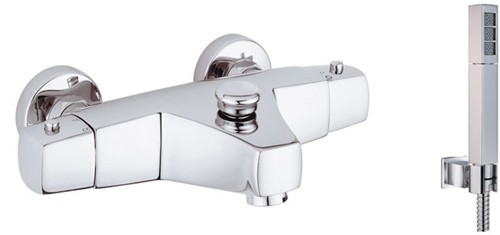 Larger image of Vado Mix2 Wall mounted thermostatic bath shower mixer with kit.