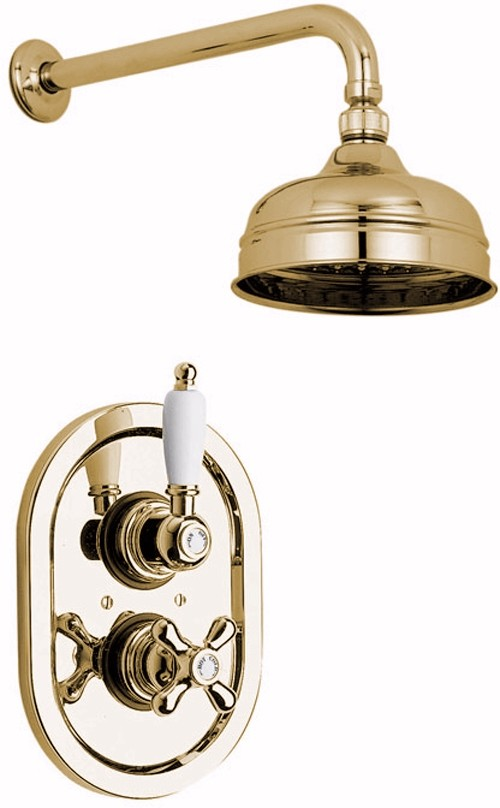 Vado Westbury > Gold thermostatic shower valve with fixed shower head.