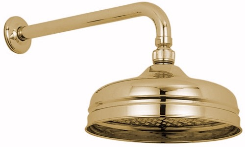 "Larger image of Vado Westbury Traditional 8"" fixed shower head and arm in gold."
