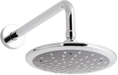 Larger image of Vado Shower Chrome Disc single function shower head and arm.