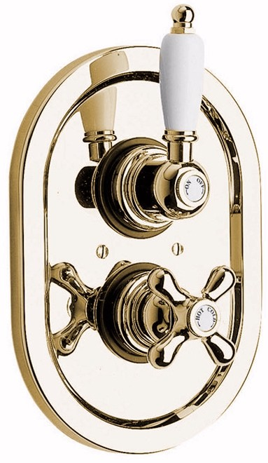 "Larger image of Vado Westbury Concealed thermostatic shower valve 1/2"" gold."