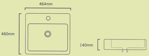 Technical image of Shires Square Teorema Free-Standing Basin, 1 Tap Hole. 460x460x140mm.