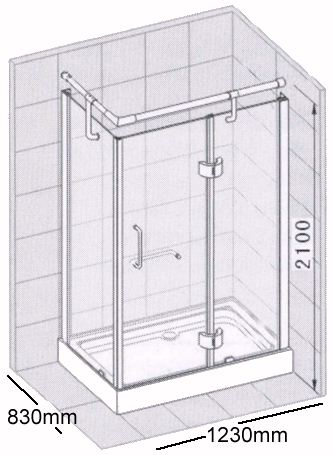 Technical image of Specials Rectangular shower enclosure with tray & waste (left handed).