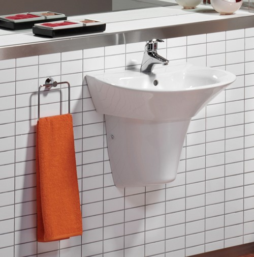 Example image of Venezia 1 Tap Hole Wall Hung Basin And Semi-Pedestal.