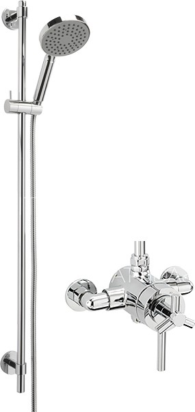 Larger image of Sagittarius Zone Exposed Shower Valve With Slide Rail Kit (Chrome).