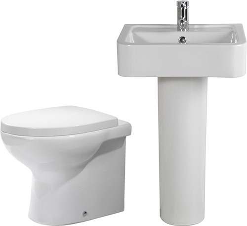 Larger image of Shires Parisi 3 Piece Bathroom Suite, Back To Wall Toilet Pan, 51cm Basin.