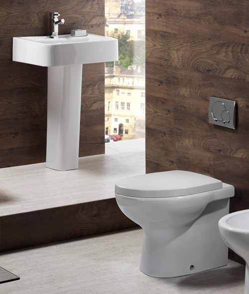 Example image of Shires Parisi 3 Piece Bathroom Suite, Back To Wall Toilet Pan, 51cm Basin.
