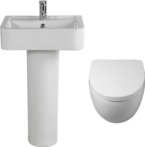 Larger image of Shires Parisi 3 Piece Bathroom Suite, Wall Hung Toilet Pan & 51cm Basin.