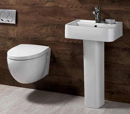 Example image of Shires Parisi 3 Piece Bathroom Suite, Wall Hung Toilet Pan & 51cm Basin.