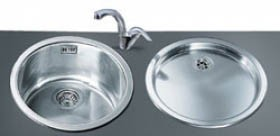 Example image of Smeg Sinks Round Bowl Inset Alba Kitchen Sink & Drainer (Stainless Steel).