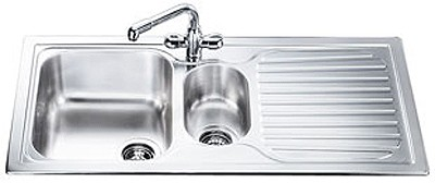 Larger image of Smeg Sinks Cucina 1.5 Bowl Stainless Steel Kitchen Sink, Right Hand Drainer.
