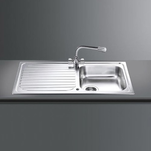 Larger image of Smeg Sinks Cucina 1.0 Single Bowl Reversible Kitchen Sink With Drainer.