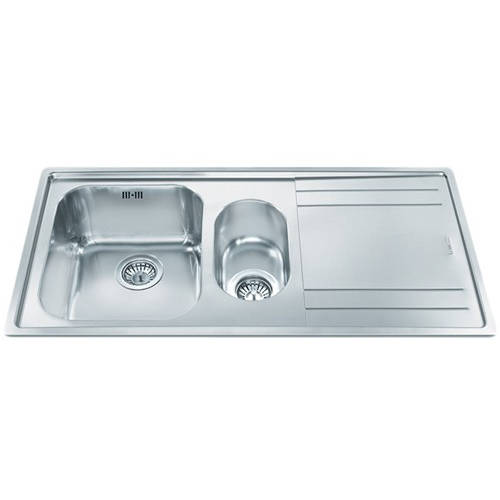 Larger image of Smeg Sinks Rigae 1.5 Bowl Sink With Right Hand Drainer (Stainless Steel).