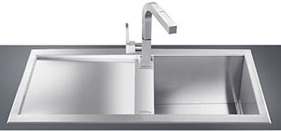 Larger image of Smeg Sinks 1.0 Bowl Low Profile Stainless Steel Sink, Left Hand Drainer.