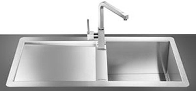 Larger image of Smeg Sinks 1.0 Bowl Stainless Steel Flush Fit Sink, Left Hand Drainer.