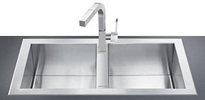 Larger image of Smeg Sinks 2.0 Bowl Stainless Steel, Low Profile Kitchen Sink.