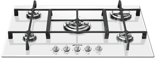 Larger image of Smeg Gas Hobs Linea 5 Burner Gas Hob. 74cm (White Glass).