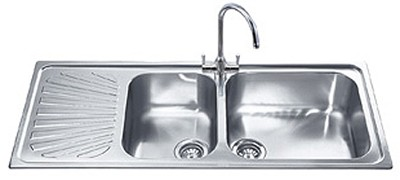 Smeg Sinks > 2.0 Bowl Stainless Steel Kitchen Sink With Left Hand ...