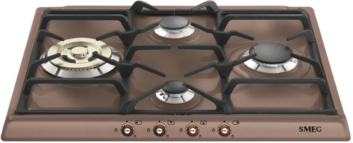 Larger image of Smeg Gas Hobs 4 Burner Gas Hob With Copper Controls. 60cm (Copper).