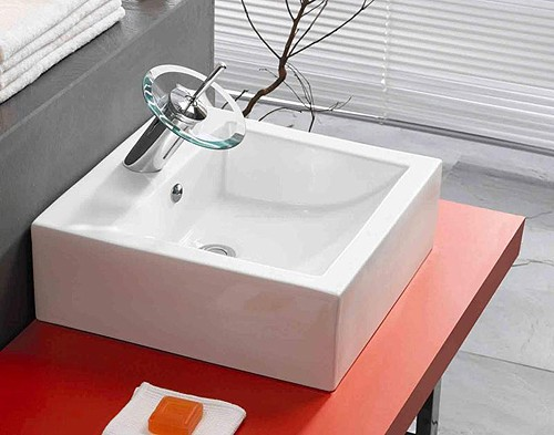 Example image of Aqua1 Glass Waterfall Basin Mixer Tap with Free push button waste