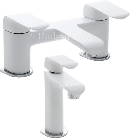 White Bathroom Taps hudson reed hero > basin & bath filler tap set (white & chrome).