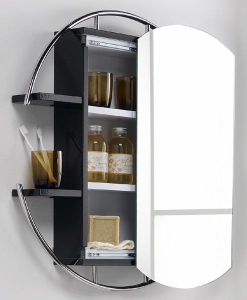 hudson reed sphere round mirror cabinet shelves black. Black Bedroom Furniture Sets. Home Design Ideas